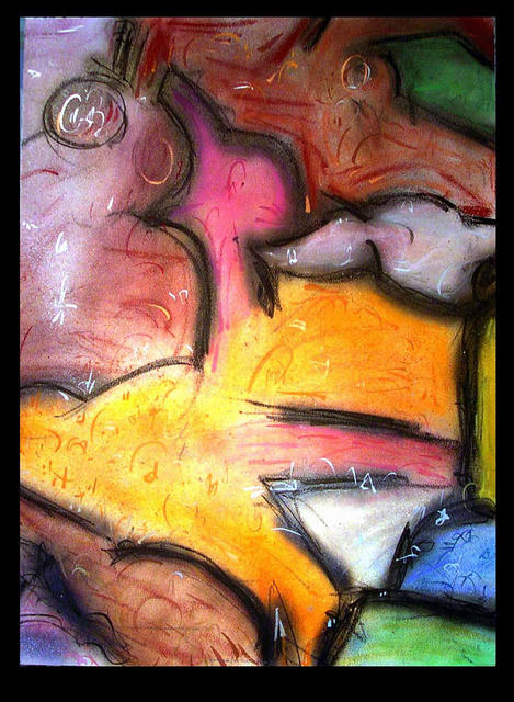 Richard Lazzara  'Bird Cry', created in 1988, Original Pastel.