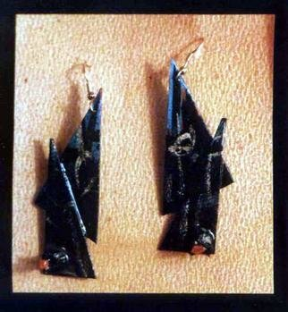 Richard Lazzara: 'black with coral ear ornaments', 1989 Mixed Media Sculpture, Fashion. Artist Description: black with coral ear ornaments from the folio LAZZARA ILLUMINATION DESIGN are available at