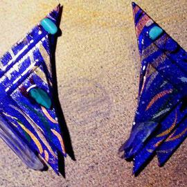 sculpture blue winged vision ear ornaments sculpture By Richard Lazzara