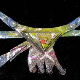 Richard Lazzara: 'bull headed pin ornament', 1989 Mixed Media Sculpture, Fashion. Artist Description: bull headed pin ornament from the folio LAZZARA ILLUMINATION DESIGN is available at