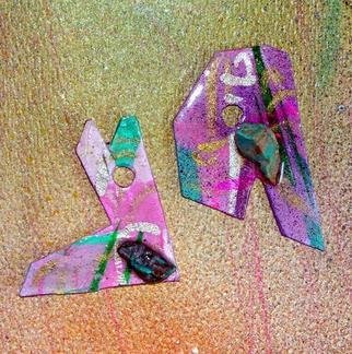 Richard Lazzara Artwork call letter ear ornaments, 1989 Mixed Media Sculpture, Fashion
