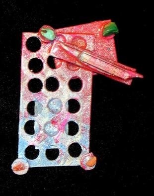 Richard Lazzara Artwork city notes pin ornament, 1989 Mixed Media Sculpture, Fashion