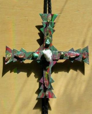 Richard Lazzara: 'coral cross bolo or pin ornament', 1989 Mixed Media Sculpture, Fashion. coral cross bolo or pin ornament from the folio LAZZARA ILLUMINATION DESIGN is available at