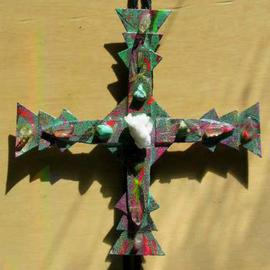 Richard Lazzara: 'coral cross bolo or pin ornament', 1989 Mixed Media Sculpture, Fashion. Artist Description: coral cross bolo or pin ornament from the folio LAZZARA ILLUMINATION DESIGN is available at