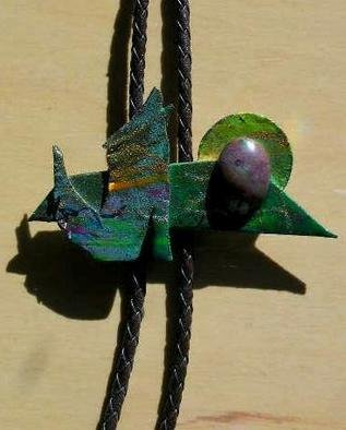Richard Lazzara Artwork coyote green bolo or pin ornament, 1989 Mixed Media Sculpture, Fashion