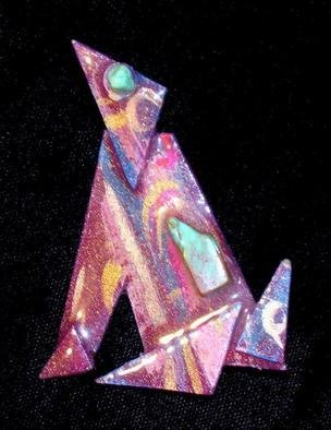 Richard Lazzara Artwork coyote howl pin ornament, 1989 Mixed Media Sculpture, Fashion