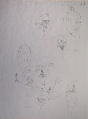 Richard Lazzara: 'creative shiva drawings', 1995 Pencil Drawing, Visionary. creative shiva drawings 1995 from the folio DRAWING ON SHIVA is available at