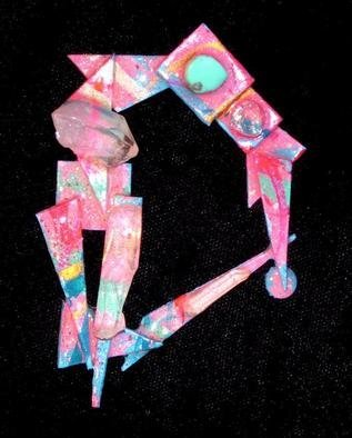 Richard Lazzara Artwork crystal circle pin ornament, 1989 Mixed Media Sculpture, Fashion