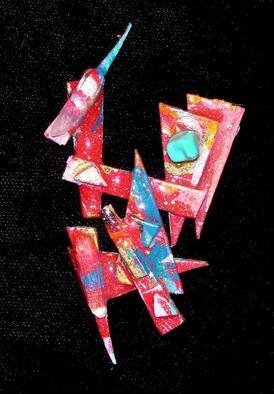 Richard Lazzara Artwork crystal directive pin ornament, 1989 Mixed Media Sculpture, Fashion