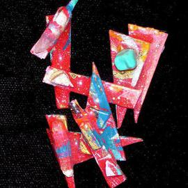 Richard Lazzara: 'crystal directive pin ornament', 1989 Mixed Media Sculpture, Fashion. Artist Description: crystal directive pin ornament from the folio LAZZARA ILLUMINATION DESIGN is available at