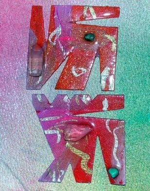 Richard Lazzara Artwork crystal letters ear ornaments, 1989 Mixed Media Sculpture, Fashion