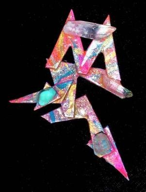 Richard Lazzara Artwork crystal m pin ornament, 1989 Mixed Media Sculpture, Fashion