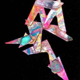 Richard Lazzara: 'crystal m pin ornament', 1989 Mixed Media Sculpture, Fashion. Artist Description: crystal m pin ornament from the folio LAZZARA ILLUMINATION DESIGN is available at