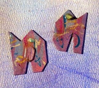 Richard Lazzara Artwork crystal stamp ear ornaments, 1989 Mixed Media Sculpture, Fashion