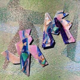 Richard Lazzara: 'dogs bark ear ornaments', 1989 Mixed Media Sculpture, Fashion. Artist Description: dogs bark ear ornaments from the folio LAZZARA ILLUMINATION DESIGN are available at