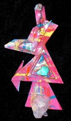 Richard Lazzara Artwork falling crystal pin ornament, 1989 Mixed Media Sculpture, Fashion
