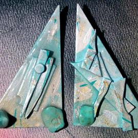 Richard Lazzara: 'falling turquoise ear ornaments', 1989 Mixed Media Sculpture, Fashion. Artist Description: falling turquoise ear ornaments from the folio LAZZARA ILLUMINATION DESIGN are available at
