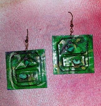 Richard Lazzara: 'green mountains ear ornaments', 1989 Mixed Media Sculpture, Fashion. Artist Description: green mountains ear ornaments from the folio LAZZARA ILLUMINATION DESIGN are available at
