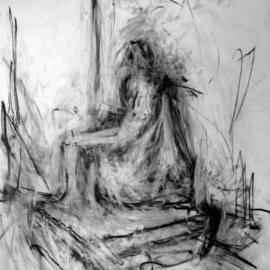 Richard Lazzara Artwork how the past figures in today, 1972 Charcoal Drawing, History