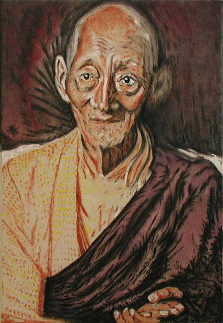 Richard Lazzara  'Kalu Rinpoche', created in 1999, Original Pastel.