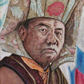 Richard Lazzara: 'karmapa', 2002 Acrylic Painting, Portrait. Artist Description: The 16th Karmapa, wearing a golden head dress, looks into your soul,' hear the lions roar.'This  sage is one among several featured with