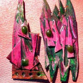 Richard Lazzara: 'magenta perido ear ornaments', 1989 Mixed Media Sculpture, Fashion. Artist Description: magenta perido ear ornaments from the folio LAZZARA ILLUMINATION DESIGN are available at