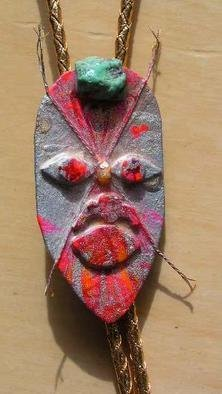 Richard Lazzara Artwork mask bolo or pin ornament, 1989 Mixed Media Sculpture, Fashion