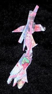 Richard Lazzara Artwork mechanical hand pin ornament, 1989 Mixed Media Sculpture, Fashion