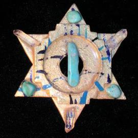 Richard Lazzara: 'meeting triangles pin ornament', 1989 Mixed Media Sculpture, Fashion. Artist Description: meeting triangles pin ornament from the folio LAZZARA ILLUMINATION DESIGN is available at