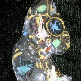Richard Lazzara Artwork moon glow skys pin ornament, 1989 Mixed Media Sculpture, Fashion