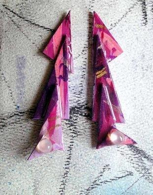 Richard Lazzara Artwork moonstone credits ear ornaments, 1989 Mixed Media Sculpture, Fashion
