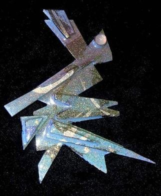 Richard Lazzara Artwork moonstone eye pin ornament, 1989 Mixed Media Sculpture, Fashion