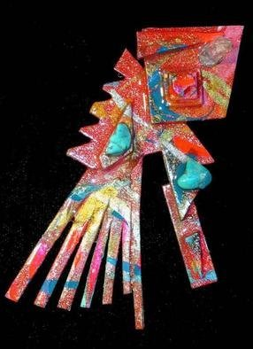 Richard Lazzara Artwork native feathers pin ornament, 1989 Mixed Media Sculpture, Fashion