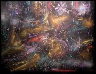 Artist: Richard Lazzara - Title: nebula light odyssey - Medium: Calligraphy - Year: 1994