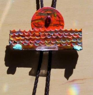 Richard Lazzara: 'ocean sunset bolo or pin ornament', 1989 Mixed Media Sculpture, Fashion. Artist Description: ocean sunset bolo or pin ornament from the folio LAZZARA ILLUMINATION DESIGN is available at
