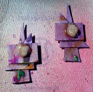 Richard Lazzara Artwork opal search ear ornaments, 1989 Mixed Media Sculpture, Fashion