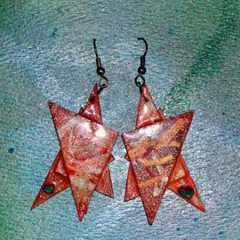 Richard Lazzara: 'orange nebula ear ornaments', 1989 Mixed Media Sculpture, Fashion. Artist Description: orange nebula ear ornaments from the folio LAZZARA ILLUMINATION DESIGN are available at
