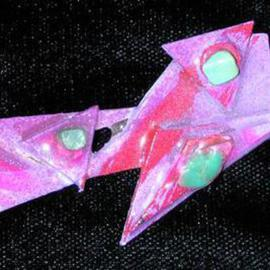 Richard Lazzara Artwork peace zones pin ornament, 1989 Mixed Media Sculpture, Fashion