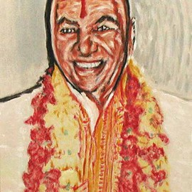 Richard Lazzara: 'poonjaji', 1999 Acrylic Painting, Portrait. Artist Description: H. W. L. Poonja- ji, in a glow of Self radiates truth, in this memorial portrait of his appearance. This is a sage portrait from