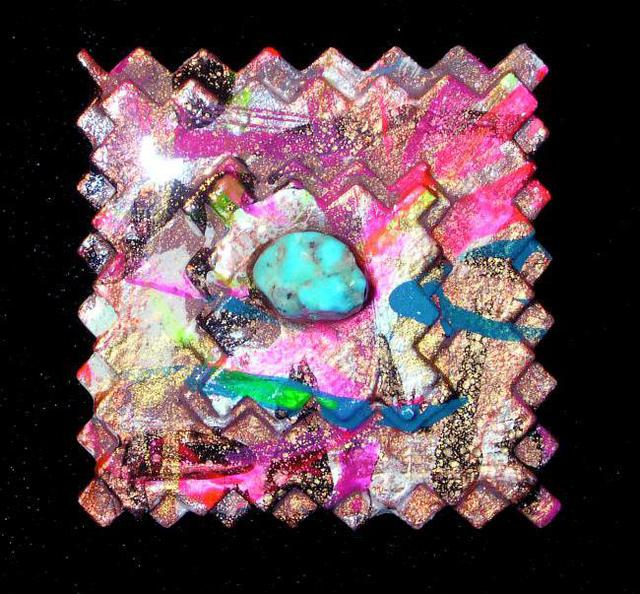 Richard Lazzara  'Postage Stamp Pin Ornament', created in 1989, Original Pastel.