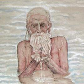Richard Lazzara: 'puja of  water unto gangama', 2004 Acrylic Painting, Portrait. Artist Description: puja of water unto gangama 2004 by Richard W. Lazzara and