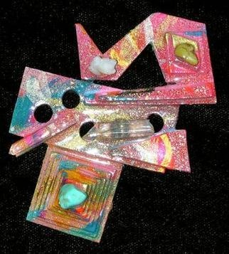 Richard Lazzara Artwork pyramid of designs pin ornament, 1989 Mixed Media Sculpture, Fashion