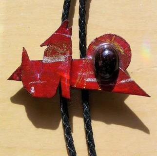 Richard Lazzara: 'red coyote bolo or pin ornament', 1989 Mixed Media Sculpture, Fashion. Artist Description: red coyote bolo or pin ornament from the folio LAZZARA ILLUMINATION DESIGN is available at