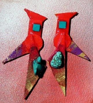 Richard Lazzara Artwork red gradual turquoise ear ornaments, 1989 Mixed Media Sculpture, Fashion