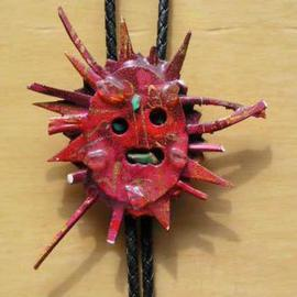 sculpture red sun bolo or pin ornament sculpture By Richard Lazzara
