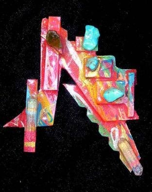 Richard Lazzara Artwork six stones pin ornament , 1989 Mixed Media Sculpture, Fashion