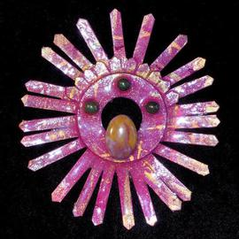 Richard Lazzara: 'solar agate pin ornament', 1989 Mixed Media Sculpture, Fashion. Artist Description: solar agate pin ornament from the folio LAZZARA ILLUMINATION DESIGN is available at