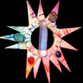 Richard Lazzara: 'solar knowledge pin ornament', 1989 Mixed Media Sculpture, Fashion. Artist Description: solar knowledge pin ornament from the folio LAZZARA ILLUMINATION DESIGN is available at