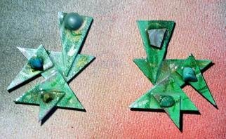 Richard Lazzara Artwork spring green ear ornaments, 1989 Mixed Media Sculpture, Fashion