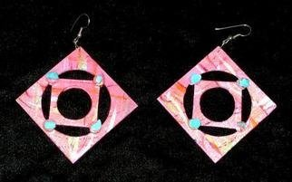 Richard Lazzara Artwork square in a circle ear ornaments, 1989 Mixed Media Sculpture, Fashion